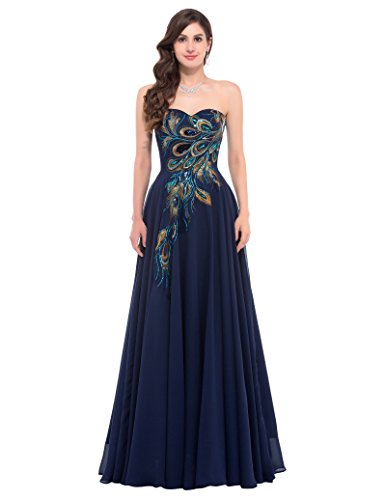 GRACE KARIN Marineblau maxikleid ohne ärmel Homecoming Kleid Damen brautkleid Spitze Abschlussballkleid 40 CL675-2