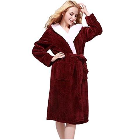 DMMSS Hommes et femmes Hoodies automne et hiver chemise de nuit allongée vêtements épais peignoir corail velours peignoirs de bain chaud pyjama Couple maison , deep red , m