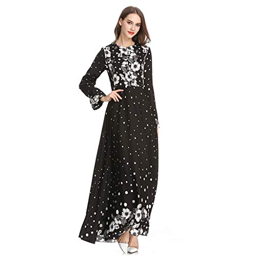 NINGSANJIN Muslim Damen Elegante Muslimische Kleider, Print Sleek Temperament Slim National Wind Noble Kleider Schwarz XL