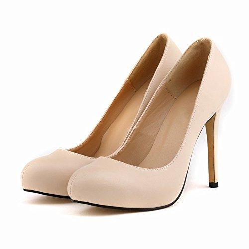 HooH Femmes Escarpins Plateforme Talon haut Robe Escarpins Mariage Chaussures a enfiler Beige-2