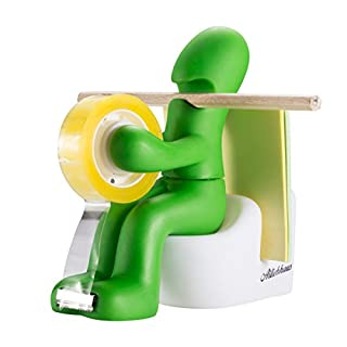 Butt Station Office Tape Dispenser Desk Accessory Holder with Roll of Tape and Paper Clips (Green) by Ailiebhaus
