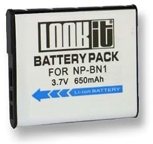LOOKit® - Batterie NP-BN1 / 650 mAh pour Sony QX30 / Sony DSC- W830 / Sony DSC- W810 / Sony DSC QX10 / Sony DSC QX100 / DSC-WX200 / DSC-W730 / DSC-W710 / DSC-TF1 / DSC-WX80 / DSC-WX60 / DSC W610 / W620 / W630 / W650 / W670 / W320 / W350 / W290 / W180 / W510 / W530 / W550 / W560 / W570 / W580 / HX20V / WX100 / DSC-TX20 / DSC-WX150