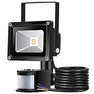 10W Security Light With Motion Sensor Lights,GUO LED Flood Lights,High 900lumen,Daylight White Waterproof Outside PIR Floodlight