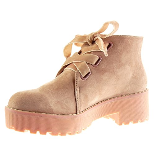 Angkorly Damen Schuhe Derby-Schuh - Combat Boots - Biker - Plateauschuhe - Fertig Steppnähte Blockabsatz High Heel 5 cm Rosa