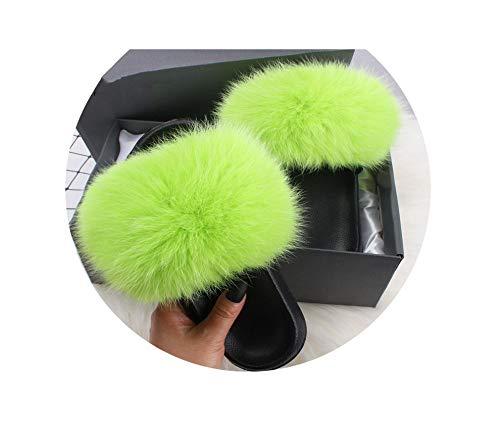 Summer Fur Slippers Slides Lady Plus Fox Raccoon Flip Flops Beach Flat Sandals Shoes,Apple Green Faux Fur,9.5 -