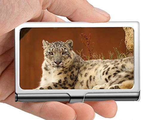 Visitenkartenhalter, Leopard Snow Leopard Zoo gelb braun Edelstahl Kartenhalter Kartenetui Ausgezeichnetes Design für Männer und Frauen