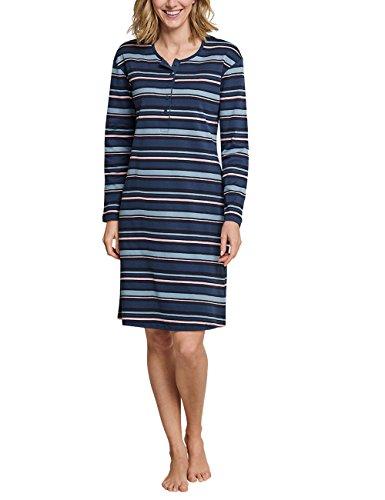 Schiesser Damen Sleepshirt 1/1 Arm, 100cm Nachthemd, Blaugrau gestreift, 38