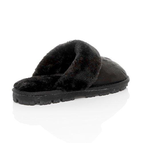 Tamanho Inverno Acolhedor Presente Homens Com Pretos Pele Quente Chinelos Chinelos Luxuosamente Do Alinhou Preta Pele wp8IFq