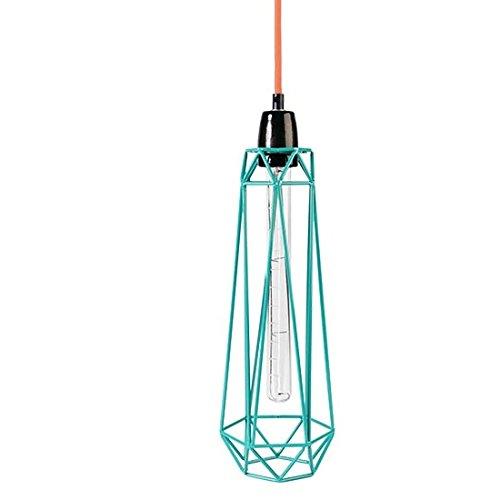 ösische Retro Loft Lampe Diamond #2 blue mit Textilkabel in orange, Metall, E27, 43 x 12 cm ()