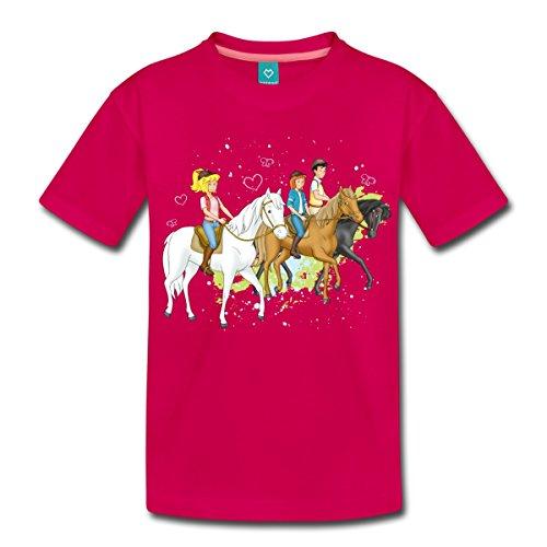 Spreadshirt Bibi und Tina Ausritt mit Alexander Falkenstein Kinder Premium T-Shirt, 122/128 (6 Jahre), Dunkles Pink (Pferd-shirt)