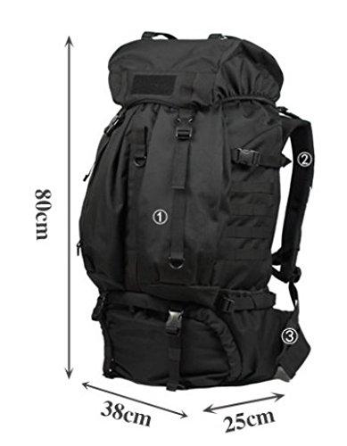 Camping Wandern Outdoor Rucksack/80LWasserdichte Tasche-grau 80L schwarz