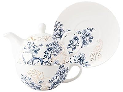 V&A Palmers Silk tasse et théière en porcelaine fine, Blanc