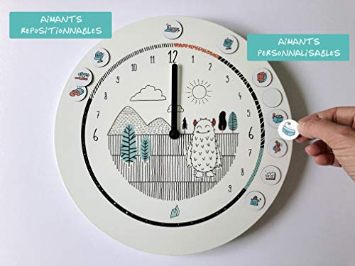 L'Horloge Formidable - horloge 24 heures Montessori pour se repérer dans le temps (L'horloge Monstre et ses 32 aimants)