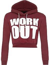 """WearAll - """"Work Out"""" texte Imprimer Haut à manches longues femmes court recadrée Hoodie - Pullover - Femmes - Tailles 36 à 42"""