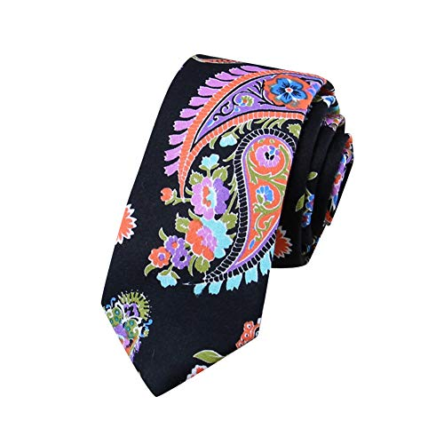 MISSMAOM Moda Clasica Corbata Para Hombre Multicolores Corbata Business Professional Fiesta de Bodas Clasico Corbata 18BlackFlower OneSize