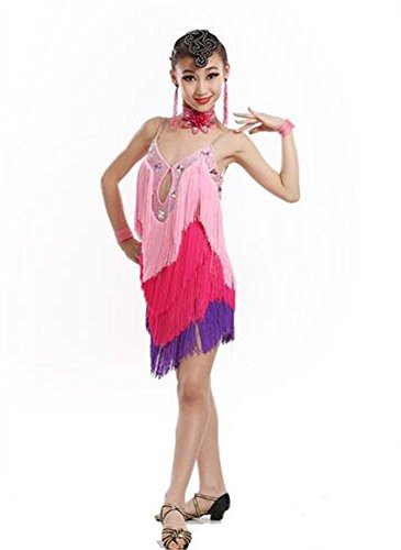 Mädchen Latin Tanzvorführungen mit Fransen Kleid / Kind Bühne Tanzshow Rock / Tanztraining Kleidung , pink , 110cm