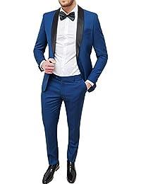 Abito Uomo Sartoriale Blu Slim Fit Vestito Smoking Elegante Cerimonia 4e4778245fc