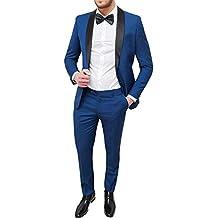 Abito Uomo Sartoriale Blu Slim Fit Vestito Smoking Elegante Cerimonia f651812f94e
