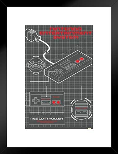 Breites Entertainment-konsole (Pyramid America Nintendo Entertainment System Controller Diagramm Video Gaming mattierte gerahmtes Poster 50,8x 66cm)