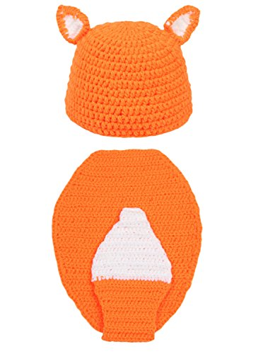 DELEY Unisex Baby Crochet Cute Fox Cosplay Kostüm Kleinkind Kleidung Outfit Foto Requisiten 0-6 Monate