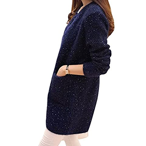 OCHENTA Femme Pull Veste Tricot Cardigan Manches Longues Casual Poches Sans Bouton Automne Bleu Marin