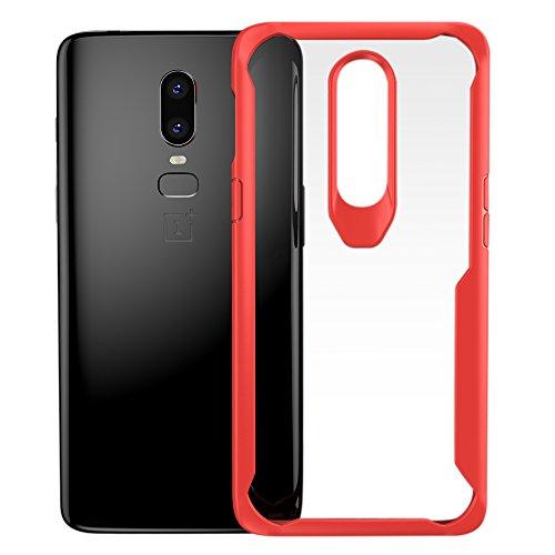 DDJ OnePlus 6 Hülle Klar, Premium TPU Schutzhülle Bumper Case Cover Handyhülle für OnePlus 6 [Stoßfest] [Anti-Rutsch] [Kratzfest] (Rot)