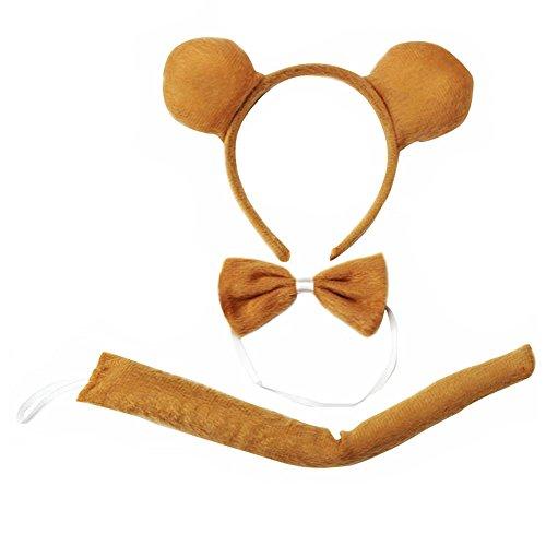 Cheerlife Tierische Cosplay Ohren Stirnband+Krawatte+Schwanz Tierset Weihnachten Halloween Karneval Kostüm Zubehör (Braunbär) (Braunbär Kostüm Ohren)