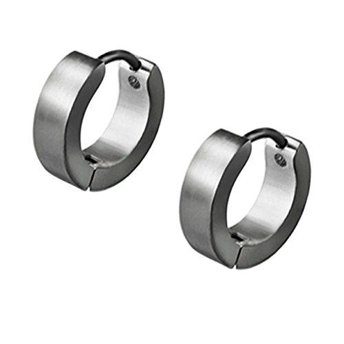 ManoaShark 2er Set Creolen Ohrringe Edelstahl Schwarz Silber, 2,5mm Silber 2 Stück, Breite: 4mm