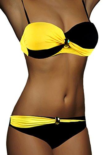 ALZORA Twist Push Up Bikini Set Damen Pushup Top und Hose Badeanzug, F821 (L, Modell-4) -