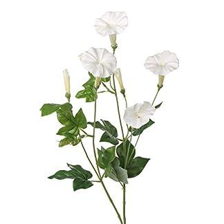 artplants.de Ipomoea Artificial NABILA, 4 Flores, Blanco, 70cm – Campanilla Morada – Gloria de la mañana