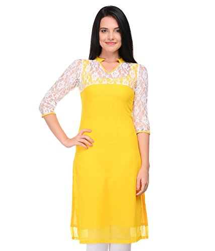 Kurti (Om Fashion Women's Cotton Printed Yellow Kurti) (Free & XXL Size)  available at amazon for Rs.199