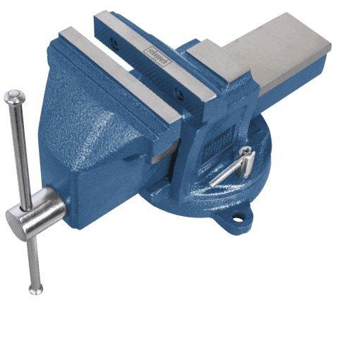 Scheppach Profi-Schraubstock mit Drehteller VS200U (Spannweite 200mm, Backenbreite 200mm, drehbar, einfache Montage, Grauguss-Konstruktion, gehärtete Stahlspannbacken, integrierter Amboss)
