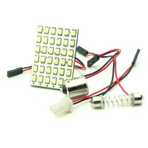 Voiture 36 SMD LED Intérieur Lumière Panel Blanche +T10+BA15S+Feston Adapteur