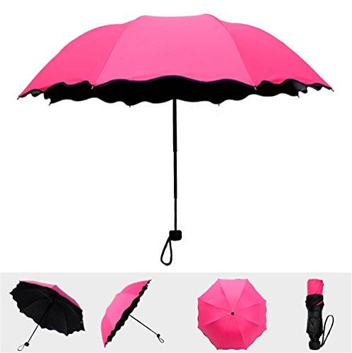 Dyewd ombrello,estate nuovo ombrello all'aperto, ombrellone da donna, ombrello creativo moda, ombrellone in plastica nera, ombrellone anti-uv, rosa rossa