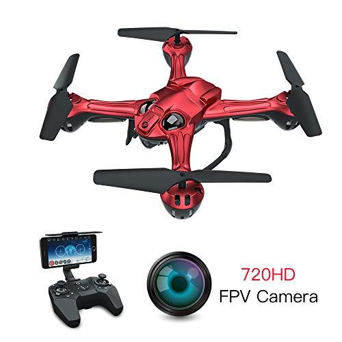 Lefant-Drohne mit Kamera 720P, FPV-Drohnen mit optischem Fluss, Live-Video-Selfie-Quadcopter, RC WiFi-Hubschrauber, Schwerkraftsensor, Auto-Hovering, VR-Modus für Profis, Erwachsene, Anfänger (Rot)