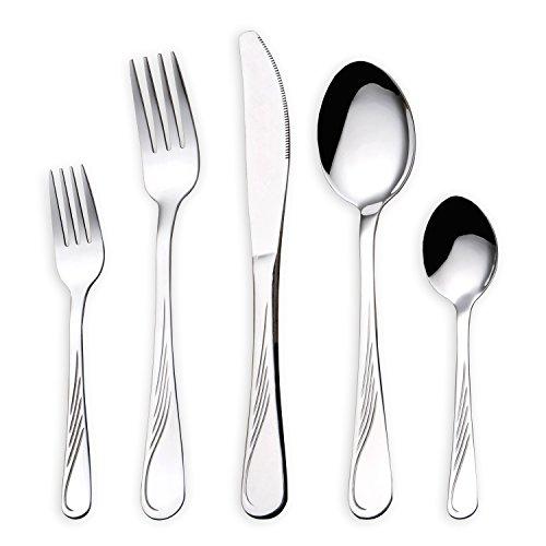 HOMQUEN 30 Stück Edelstahlbesteck,Besteck Besteck-Set, Messer Gabeln Löffel Set für 6 Personen (Besteck, 6 Sätze)