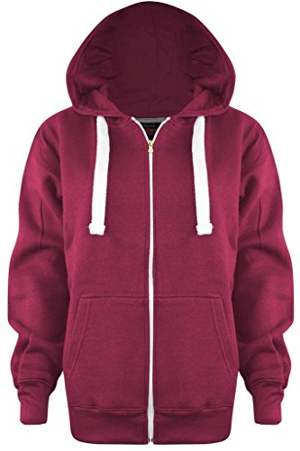 New Ladies Womens PLUS SIZE Plain Zip Hoodie CORAL UK SIZE XL/14