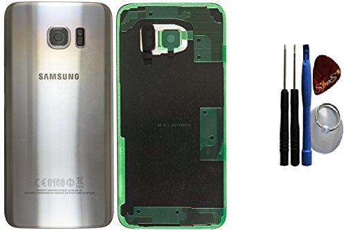 Galleria fotografica Kit di riparazione: Originale Samsung Galaxy S7 EDGE G935F ARGENTO copribatteria, posteriore, copertina, coperchio fotocamera lente+ Pellicola adesiva/guarnizione + Set di attrezzi SPES®