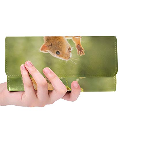 Einzigartiges weibliches Eichhörnchen, das auf Pilz-Frauen-dreifachgefalteter Geldbörsen-Langer Geldbeutel-Kreditkarteninhaber-Fall-Handtasche Steht -