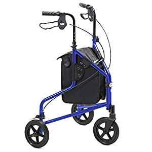 Days Lightweight Aluminium Folding 3 Wheel Tri Walker with Lockable Brakes and Carry Bag, Adjustable Height, Limited Mobility Aid, (Eligible for VAT relief in the UK)