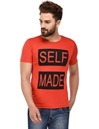 100 Tees Red Printed SELF Made Half Sleeve Tshirt For Men