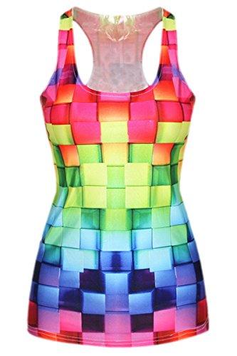 Zauberkirschen - Damen Mädchen Tank Top Cube Bunt Print, One Size S-M, (Kostüme Halloween Tetris)