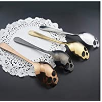 PiniceCore 4Pcs 15.1 * 3.4 * 0.25cm Skull Shaped Spoon Stainless Steel Coffee Spoons Dessert Ice Cream Sweets Teaspoon