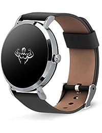Rastreador de fitness multifunción elegante pulsera, Podómetro Ritmo cardíaco y monitor de sueño Led Impermeable Llame y masaje recordatorio, Correa de cuero-A 20x20cm(8x8inch)