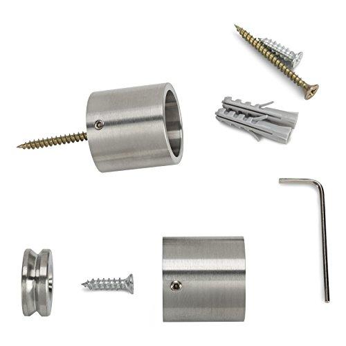 SO-TECH® Edelstahl Schrankstange 1160 mm RUND Ø 25 mm mit 2 Stück Schrankrohrhalter TUBE rostfrei / Schrankrohr / Kleiderstange / Möbelstange / Design trifft auf Funktion - 3