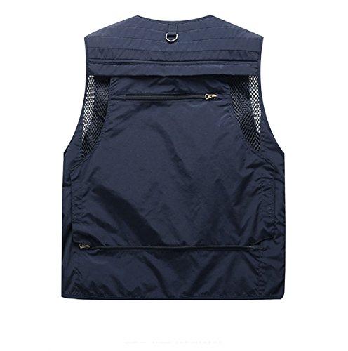 YanLL Casual Vest Young Man Primavera E Autunno Sezione Sottile Multi-tasca Solido Colore Sleeveless Outdoor Quick-drying Gilet TreasureBlue