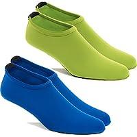 FUN TOES -2 Pairs Water Skin Shoes Aqua Socks for Water Sports Beach Pool Surf (Large Women 6.5-8, Men 5.5-7, 1 Blue- 1 Green)