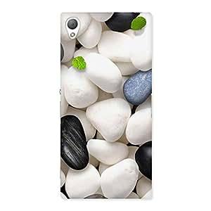 Neo World White Pebbles Black Rocks Back Case Cover for Sony Xperia Z3