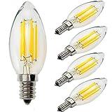 Yiun C35 E14 LED Kerzen Birnen 6W, 60W Glühbirnen äquivalent, 4000K Tageslicht weiß (weich weiß) Kerzenleuchter E14 Glühbirnen, dimmbar, 600Lm, LED Glühbirne, kleine Edison Schraube Kerze Glühbirnen, Packung mit 5