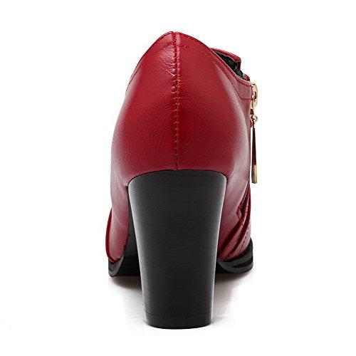 AllhqFashion Damen Hoher Absatz Rein Reißverschluss Rund Schließen Zehe Pumps Schuhe Rot